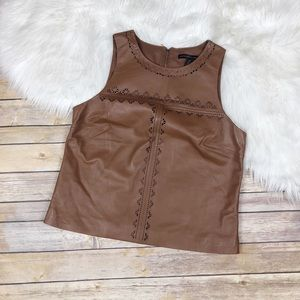 White House Black Market Tops - NEW WHBM Laser Cut Leather Bodice Top Size 10